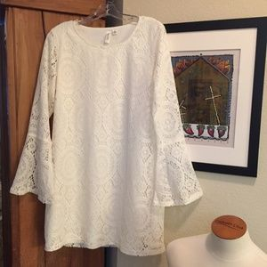 White lace dress with bell sleeves